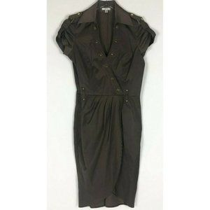Cache Brown Faux Wrap Ruching Military Dress